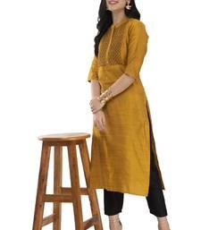 mustard Kaantha Printed Straight Kurta