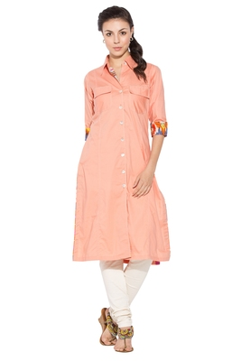 Peach Plain Cotton Party Wear Kurtis