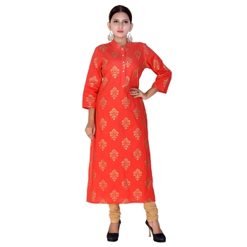 Women Red Printed Straight Kurta