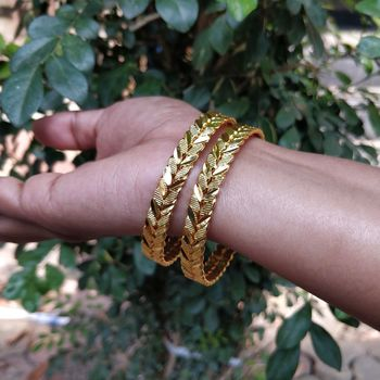 Gold Plated Traditional Designer Plain Bangles Set Of 2