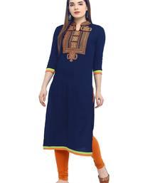 Women blue Embroidered Straight Kurta