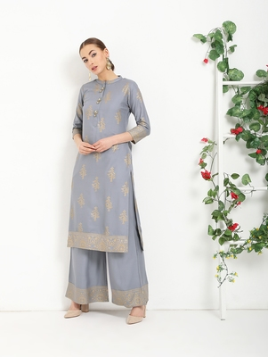 grey printed Rayon kurta sets