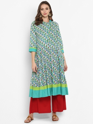Women Green Printed A-line Kurta