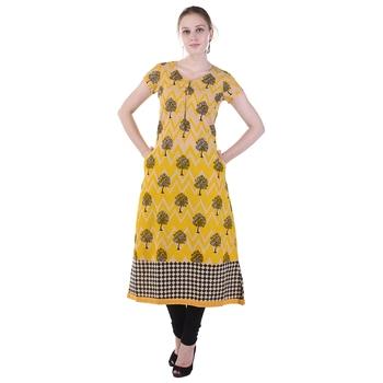 Women Yellow Printed A-line Kurta