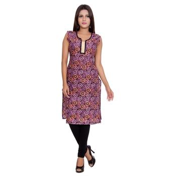 Women Purple Printed Straight Kurta