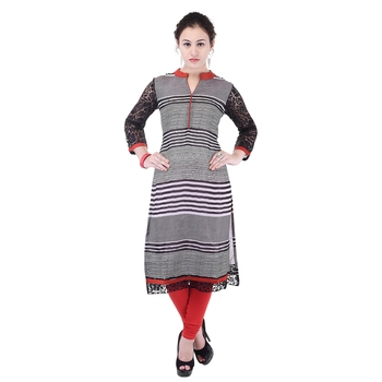 Women Red stripes_printed Straight Kurta