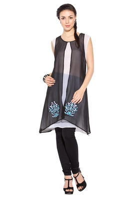 Black Embroidered Georgette Party Wear Kurtis