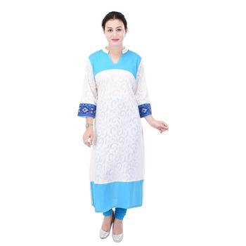 Women White Self Design, Embroidered Straight Kurta