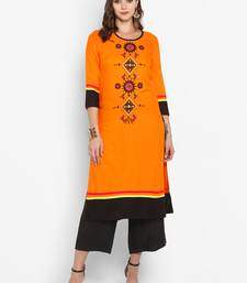 Women Orange Embroidered Straight Kurta