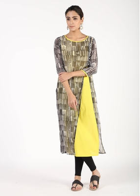 Women Yellow Printed Straight Kurta