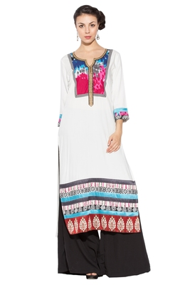 White Embroidered Cotton Party Wear Kurtis