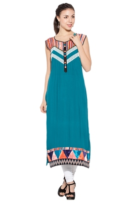 Green Embroidered Cotton Party Wear Kurtis