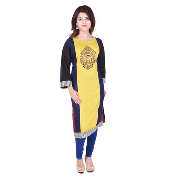 Women multicolor Colorblock Straight Kurta