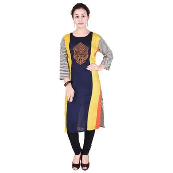 Women multicolor Colorblock Straight Kurta