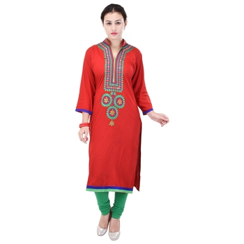 Women Red Embroidered, Embellished Straight Kurta