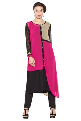 Pink Woven Georgette Party Wear Kurtis