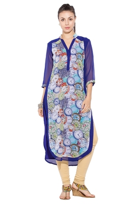 Blue Printed Georgette Party Wear Kurtis