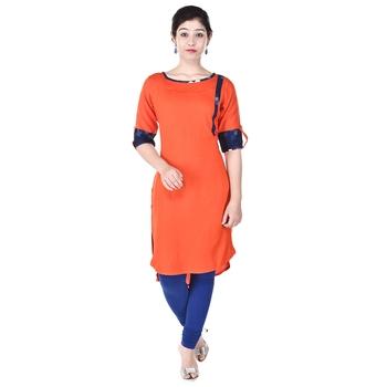 Women Orange Solid High Low Kurta