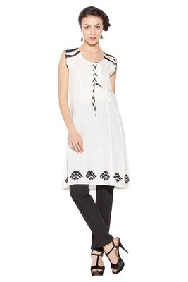 White Embroidered Cotton Party Wear Kurtis