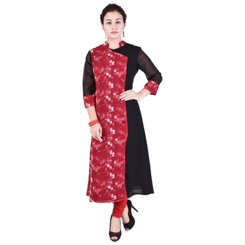 Women Red Printed A-line Kurta