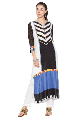 Black Printed Cotton Party Wear Kurtis