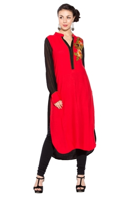 Red Embroidered Cotton Party Wear Kurtis