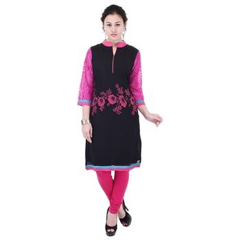 Women Pink Printed Straight Kurta