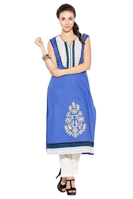Blue Embroidered Cotton Party Wear Kurtis