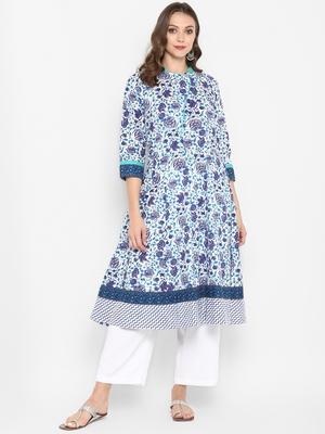 Women blue Printed Flared Kurta