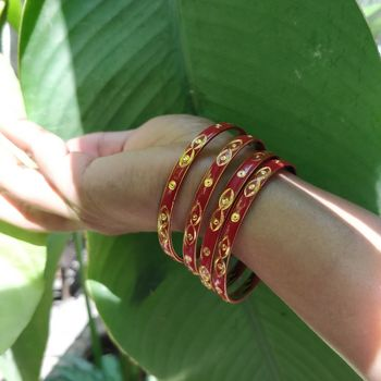 Maroon and Gold Bangle Set Of 4