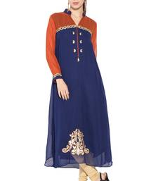 Navy Blue Embroidered Georgette Party Wear Kurtis