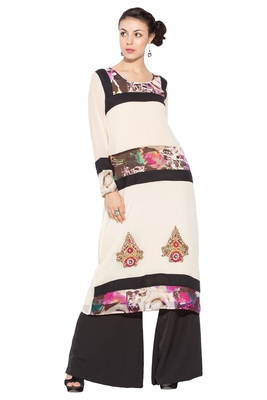 White Printed Georgette Party Wear Kurtis