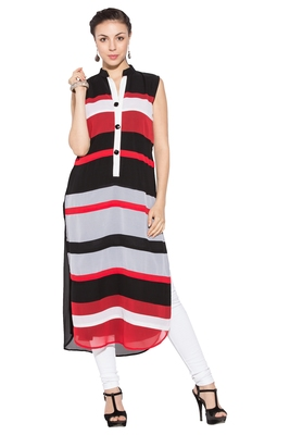 Red printed georgette party-wear-kurtis