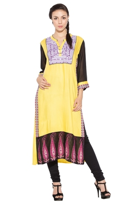 Yellow Embroidered Cotton Party Wear Kurtis
