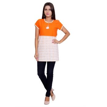 Women Orange Printed Straight Kurta