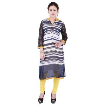 Women blue stripes_printed Straight Kurta