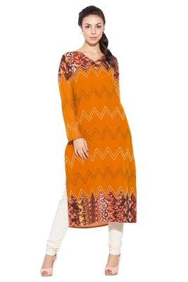 Orange Embroidered Georgette Party Wear Kurtis