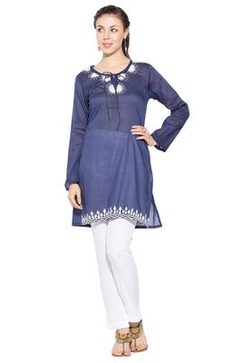 Dark Blue Embroidered Cotton Party Wear Kurtis