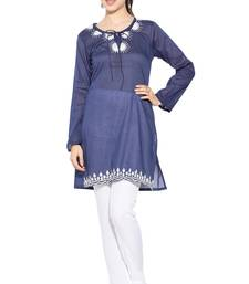 Dark Blue Embroidered Cotton Party Wear Kurtis