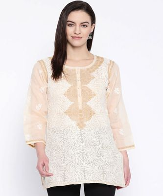 Hand Embroidered Fawn Cotton Lucknow Chikan Top