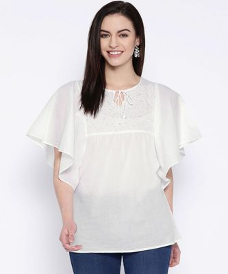 Hand Embroidered White Cotton Lucknow Chikan Top