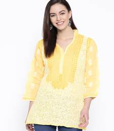 Hand Embroidered Yellow Cotton Lucknow Chikan Top