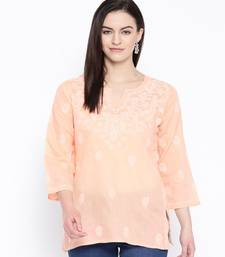 Hand Embroidered Peach Cotton Lucknow Chikan Top