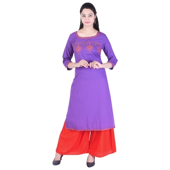 Women Purple Embroidered Straight Kurta