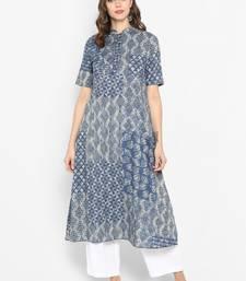 Women blue Printed Anarkali Kurta