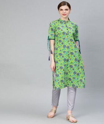 Women Green Floral Straight Cotton Kurta