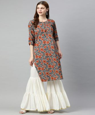 Women Grey Floral Straight Cotton Kurta
