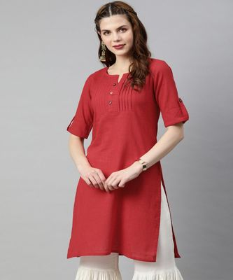 Women Red Solid Straight Cotton Slub Kurta
