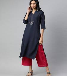 Women Navy Blue Solid Straight Rayon Kurta