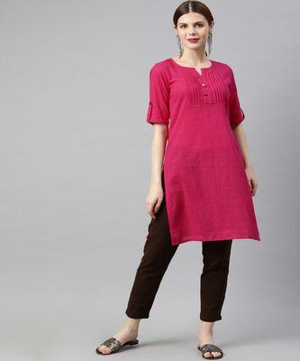Women Pink Solid Straight Cotton Slub Kurta